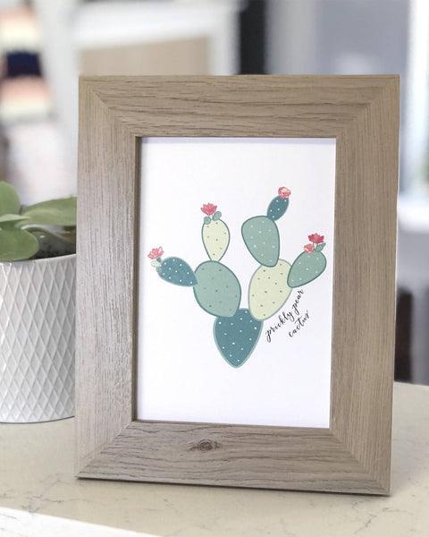 Prickly Pear Cactus Hand Illustrated Wall Art Print