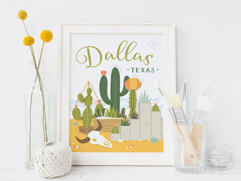 Dallas Succulent Skyline Art Print