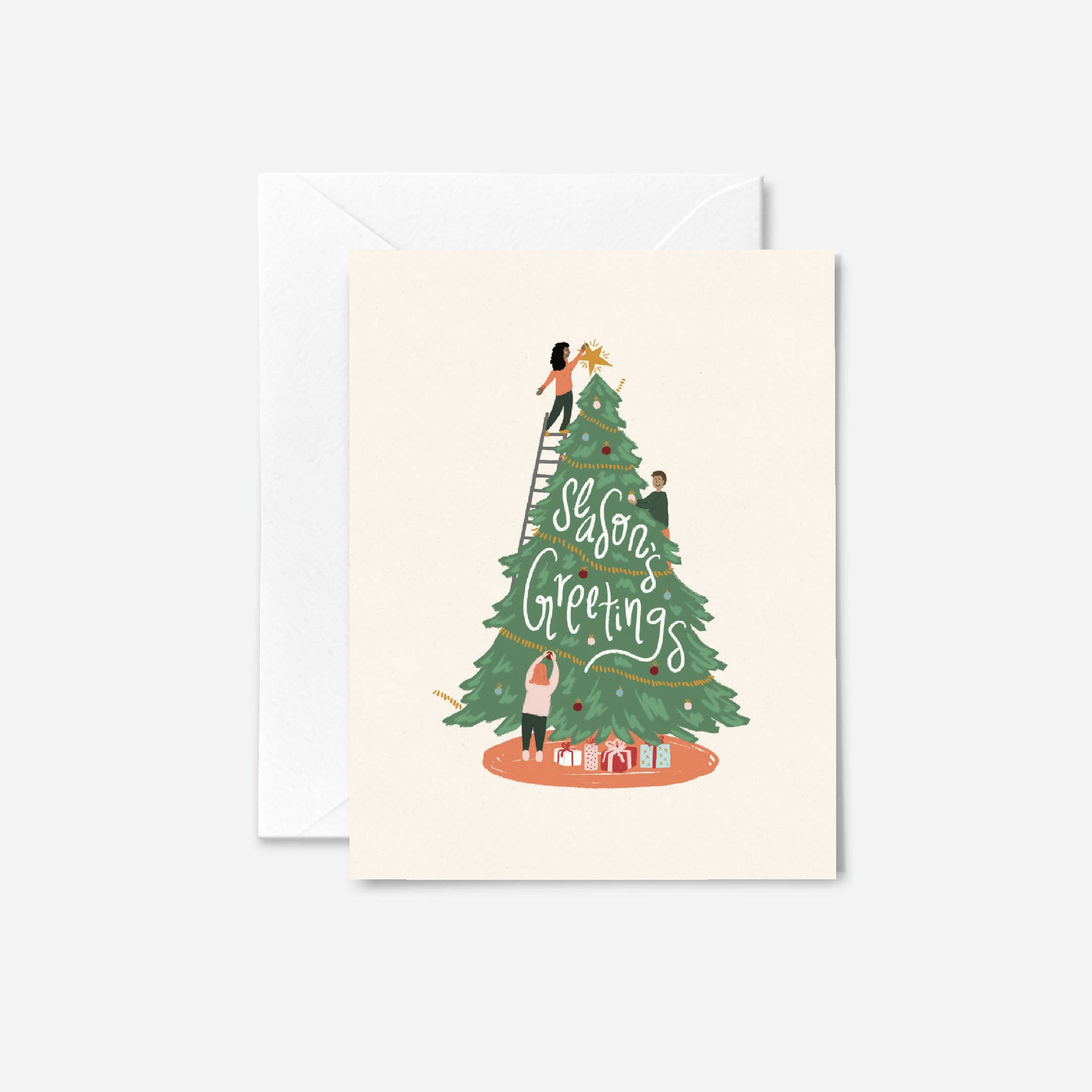 Tree Trimming Christmas Card