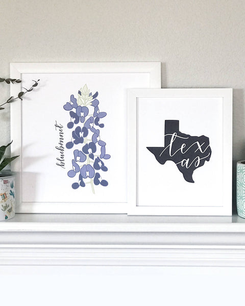 Bluebonnet Flower Hand Illustrated Wall Art Print