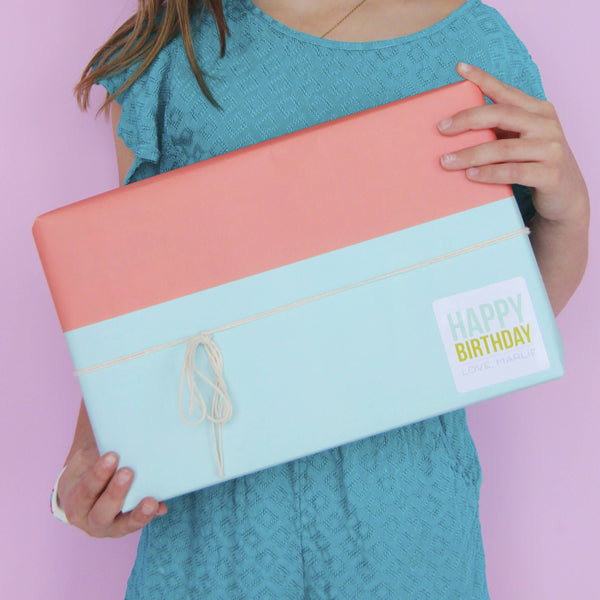 Gift Wrap - Pool & Poppy Color Block