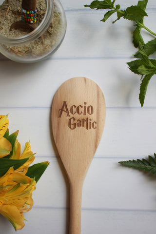 Accio Garlic Engraved Wooden Spoon
