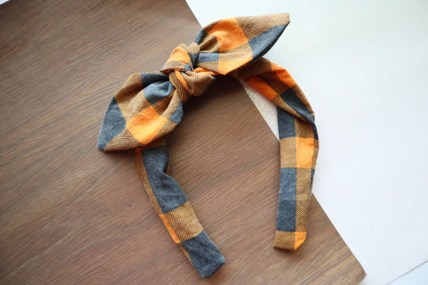 Distressed Pumpkin Plaid Headband