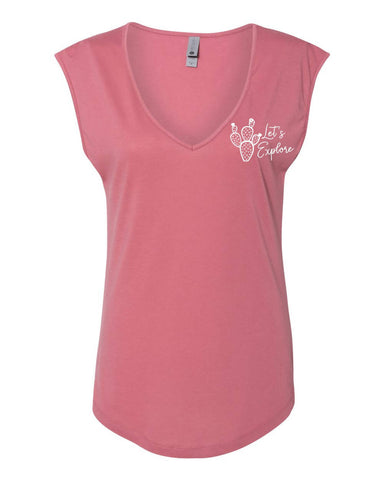 Let's Explore Ladies V Neck Tank Top