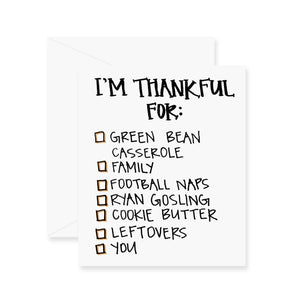 Thankful For Checklist Greeting Card