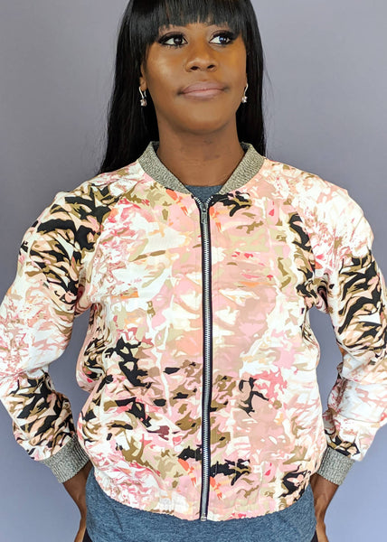 Silky Coral Camouflage Bomber Jacket