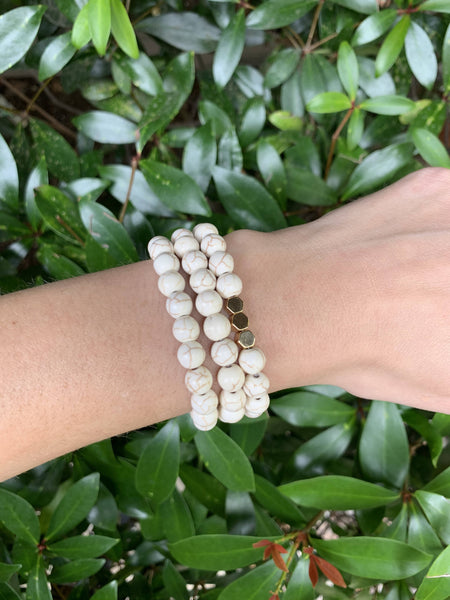 Howlite & Gold Hexagons Bracelet
