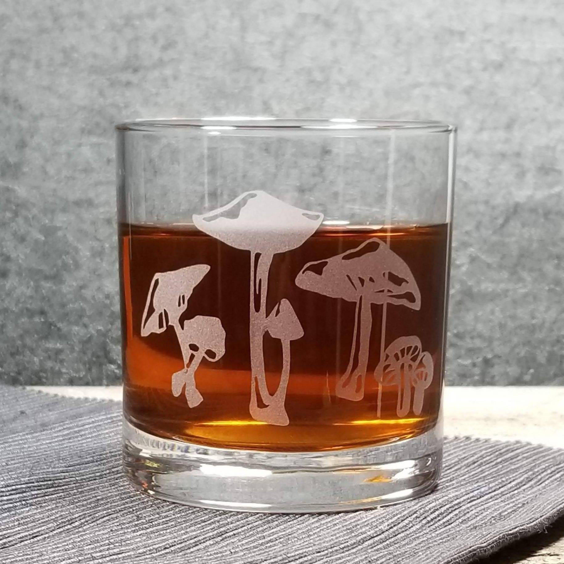 Mushrooms Etched Cocktail Rocks Old Fashioned Glass