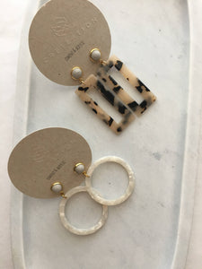 cement stud and acrylic earring