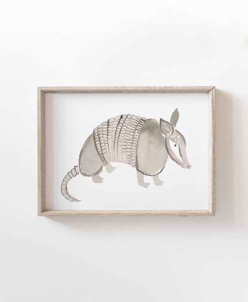 Armadillo Watercolor Art Print
