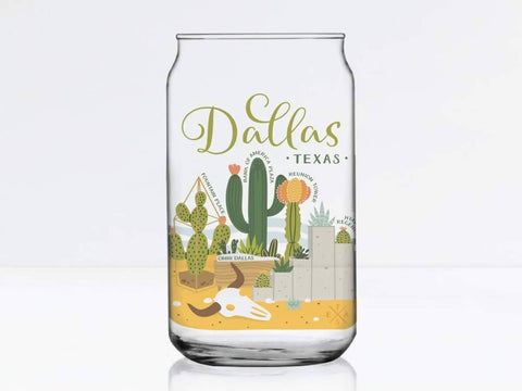Dallas Succulent Skyline Can Glass