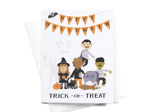 Trick or Treat Kids Greeting Card