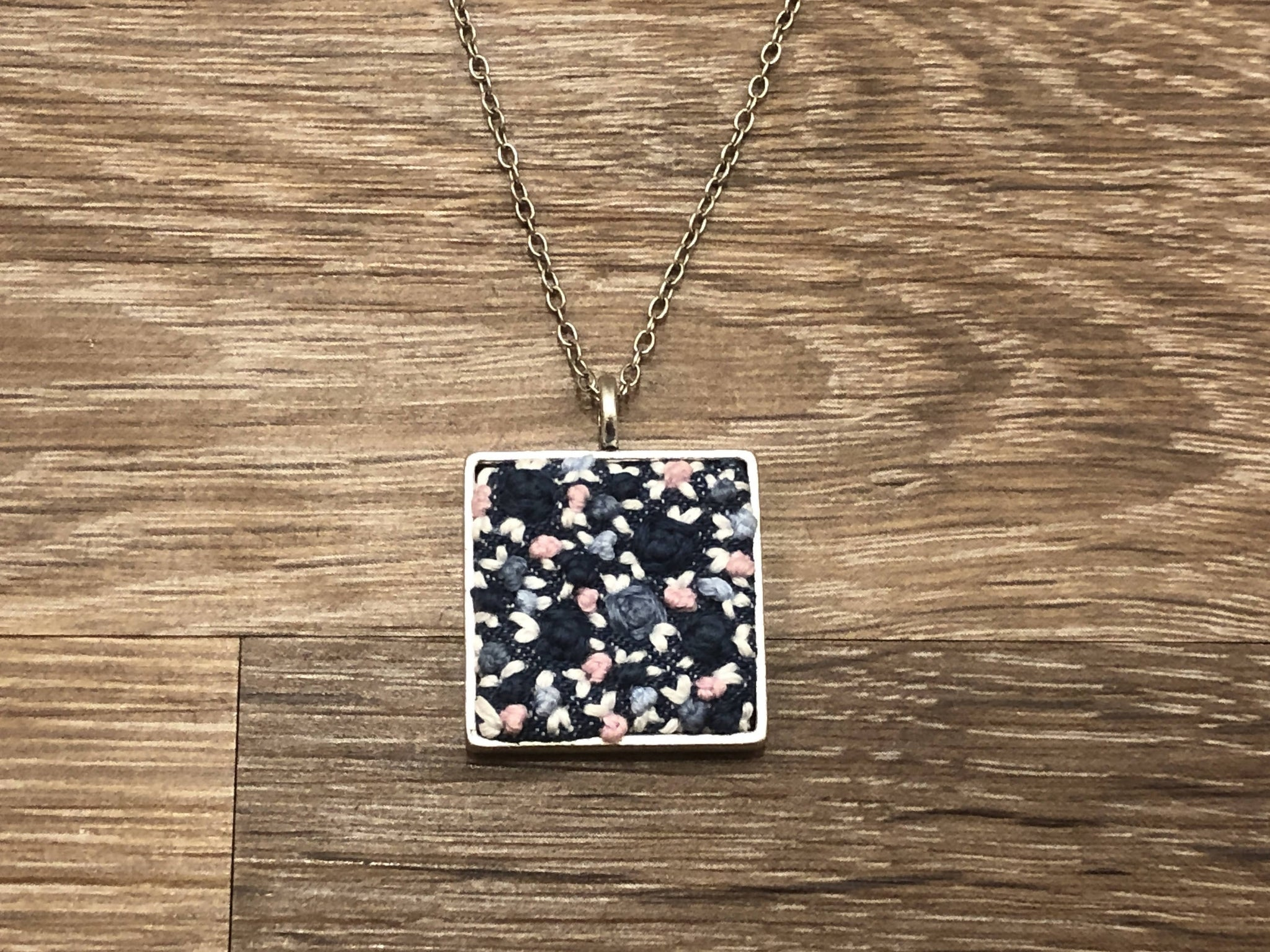 Hand Embroidered Square Pendent