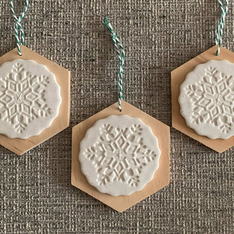clay + wood snowflake ornament