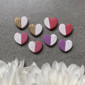 two tone valentine heart clay studs