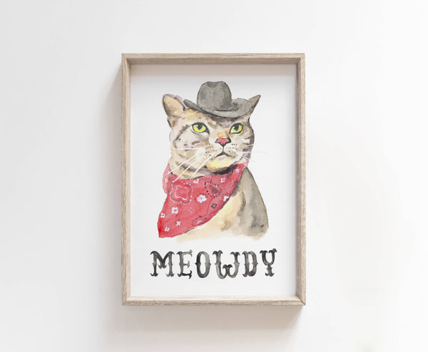 Meowdy Cat Watercolor Art Print