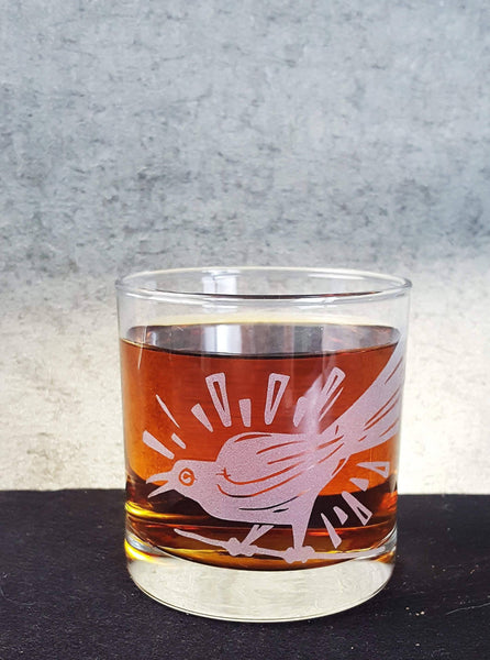 Grackle Bird Austin Etched Whiskey Glass