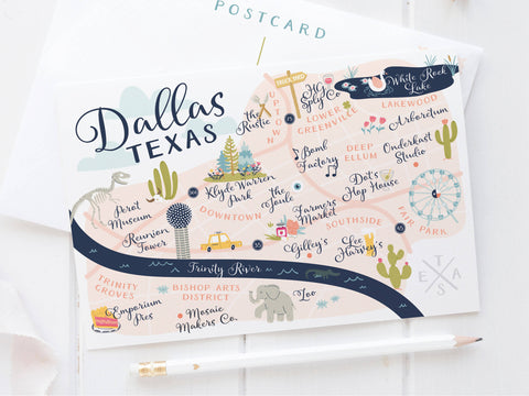 Dallas Map Postcard