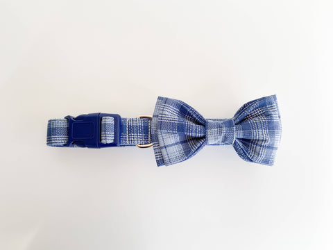 Tim - Blue plaid dog collar