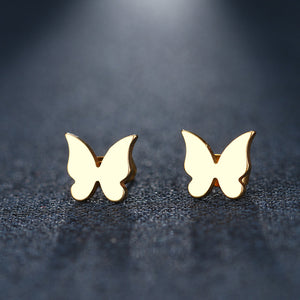 Stainless Steel Solid Butterfly Stud Earrings