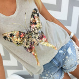 Grey Tank Top With Mulicolored Butterfly