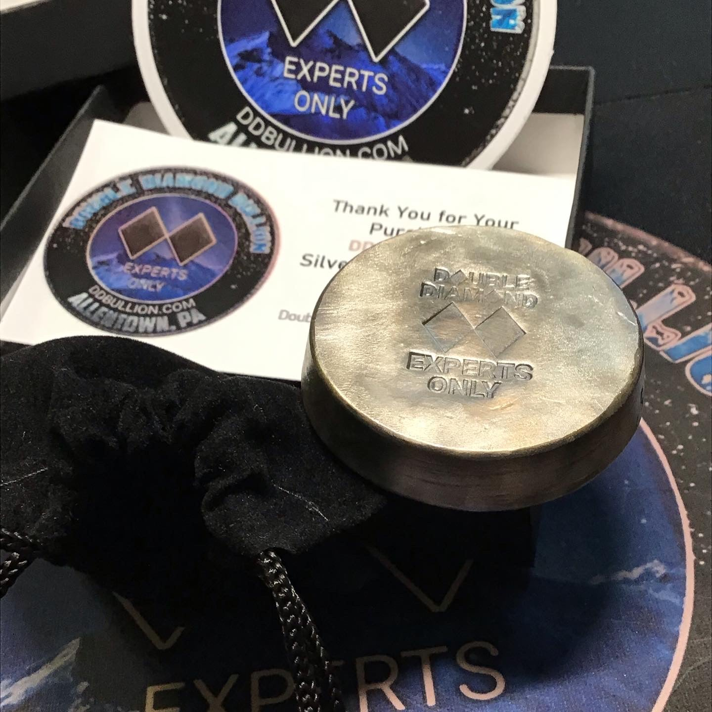 "Double Diamond Bullion ""Experts Only"" 5 oz. Boulder Chunk Silver Round"