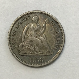 1873 Seated Liberty Half Dime 90% Silver-Type 4 Legend on Obverse