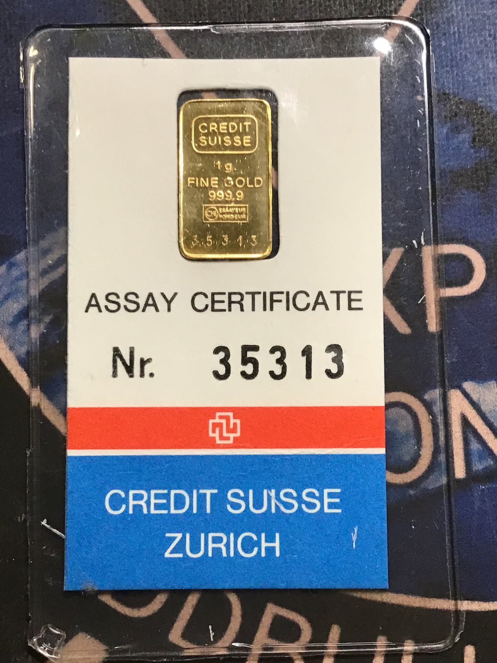 Credit Suisse Zurich 1 gram Gold Bar in Certified Assay