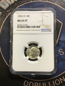 NGC 1952 D MS65 Roosevelt Dime - Full Torch