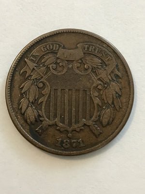 1871 Two Cent Piece-Civil War Era Copper