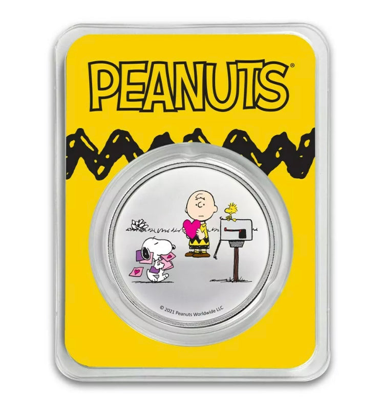 Peanuts Colorized Valentines Day 1 oz. Silver Coin