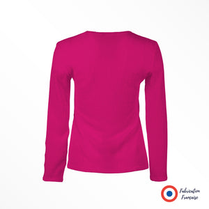 Top stretch en tissu gaufré fuchsia