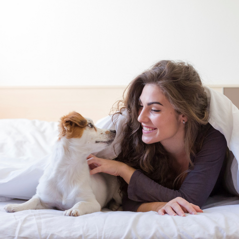 Woman and dog in bed