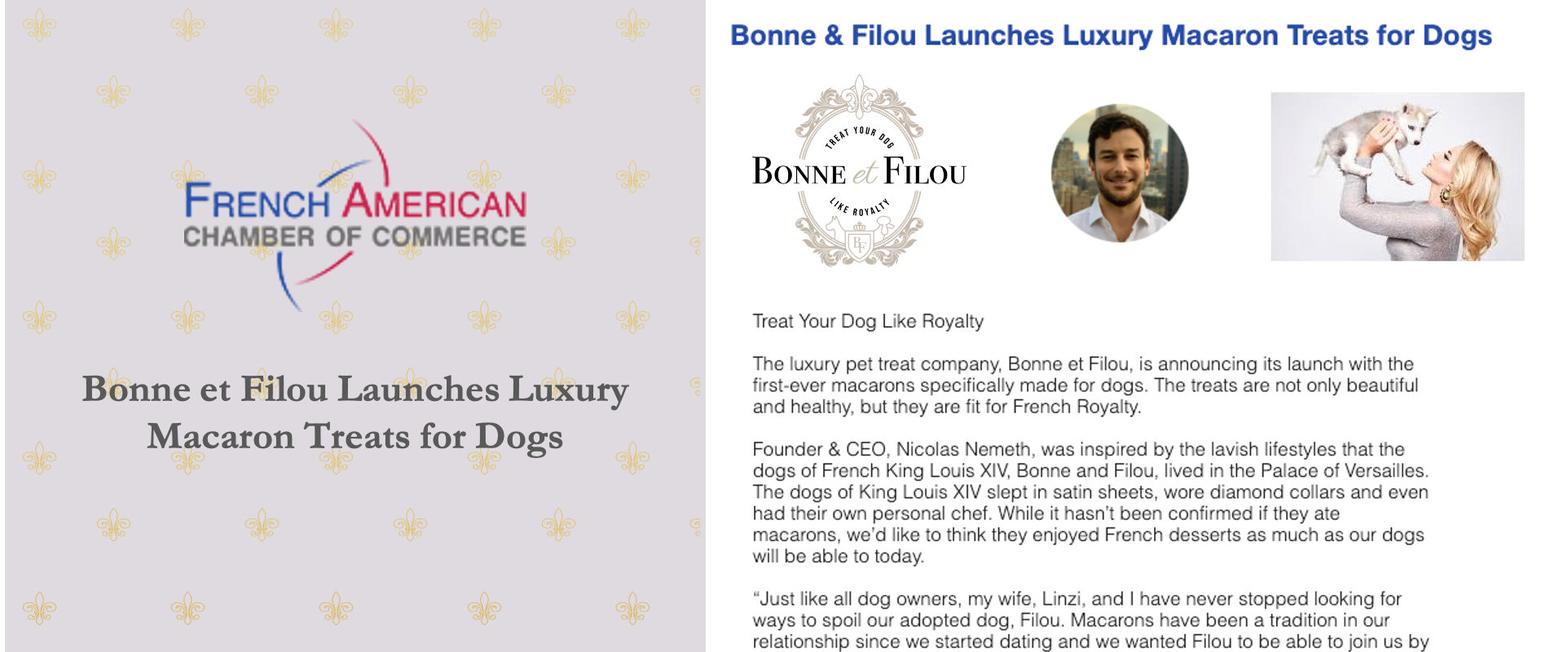 FACC French American Chamber of Commerce Bonne et Filou Launches Luxury Macaron Treats for Dogs