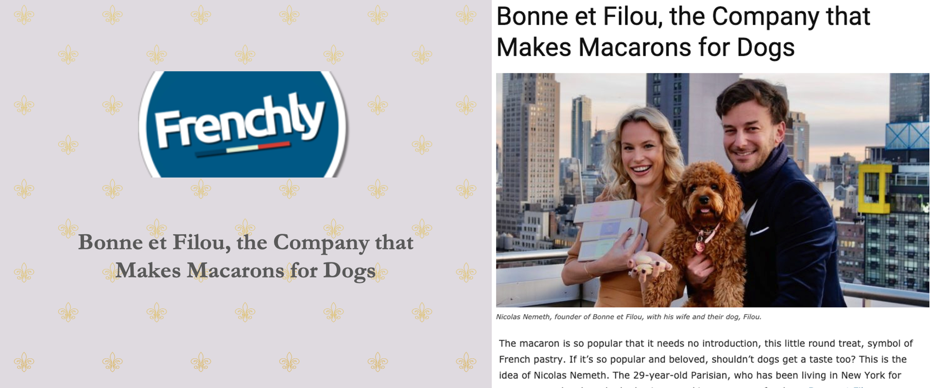 Frenchly Bonne et Filou Dog Macarons New York Brand French Royalty Macaroons France Paris Pup Puppy Gourmet Treats Handmade Snacks