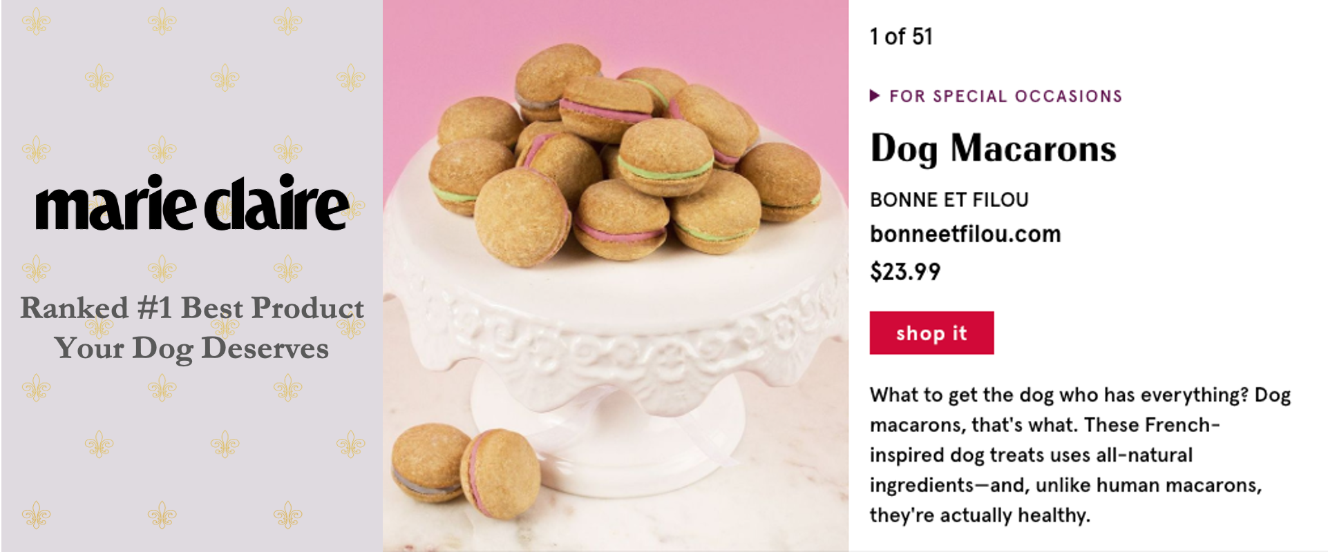 Marie Claire Best Dog Product Macarons Dog Pet Gift Gifts Bonne et Filou Healthy Treats