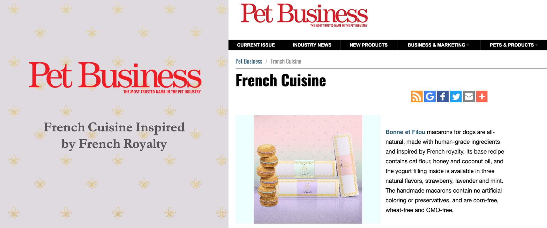 Pet Business French Cuisine Dog Macarons All-Natural Human-Grade Ingredients Treats French Royalty