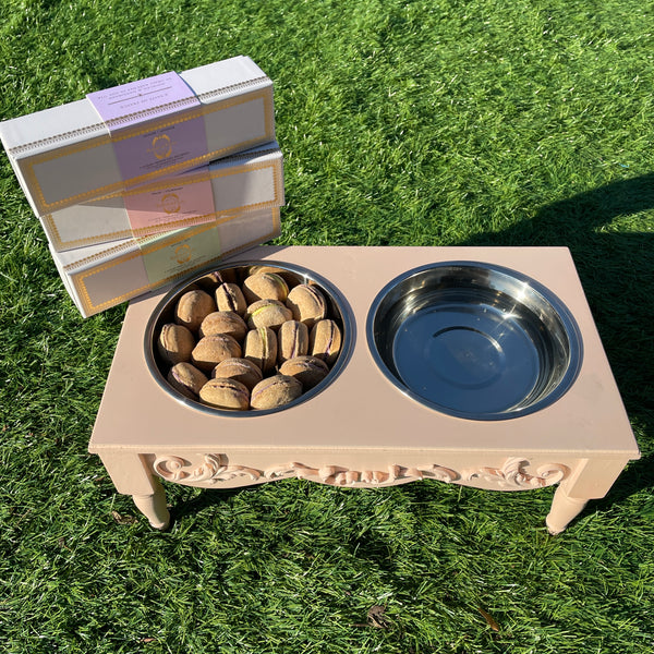 Bundle of 3-Boxes Dog Macarons + Elevated Pet Feeder - Bonne et Filou