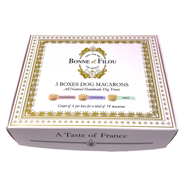Combo Gift Pack of 3-Boxes Dog Macarons - Bonne et Filou