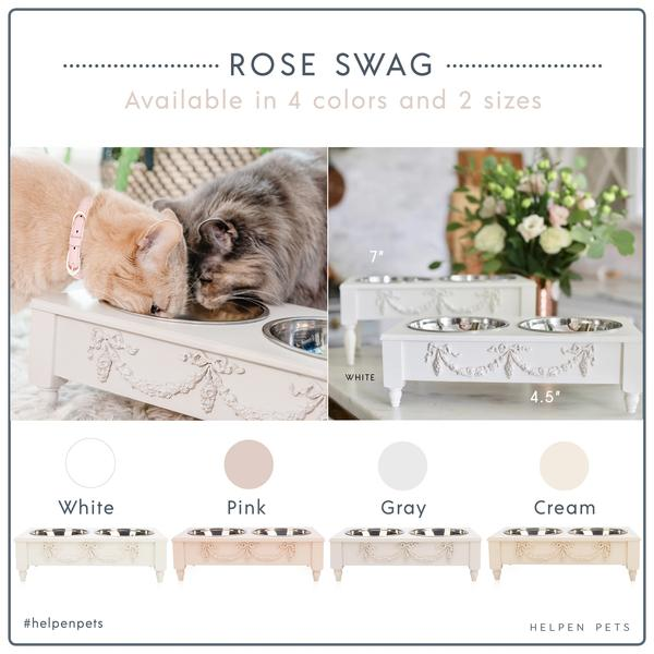 Rose Swag Elevated Pet Bowl / Feeder - Bonne et Filou