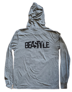 Gray Pullover Hoodie with Wolf Graphic