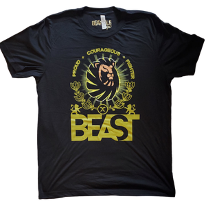 Black Tee with Lion Beast Graphic