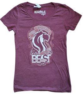 Women's Maroon Tee with Lady Lioness Graphic
