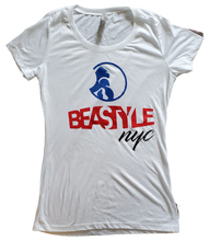 Load image into Gallery viewer, White Lady Tee with Beastyle NYC Multi-Colored Graphic