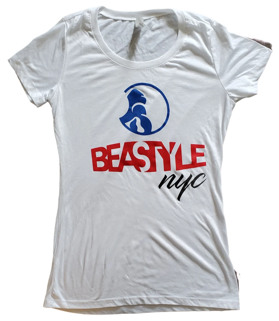White Lady Tee with Beastyle NYC Multi-Colored Graphic