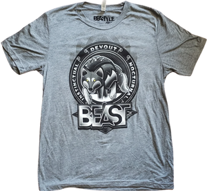 Gray Tee with Beastyle Wolf Graphic