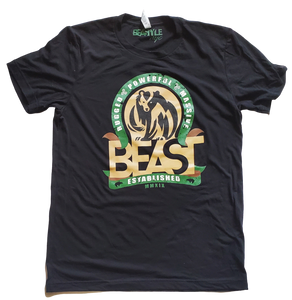 The Bear - Black Tee with Green/Tan Graphic