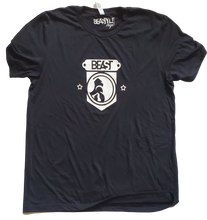 Load image into Gallery viewer, Black Tee with White Beast Gorilla Shield