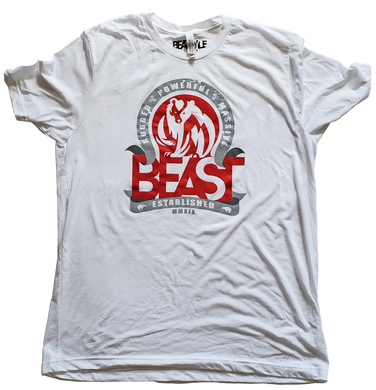 The Bear - White Tee with Red/Gray Graphic