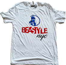 Load image into Gallery viewer, White Tee with Blue/Red Gorilla Beastyle Graphic